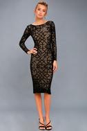 Mila Black Sequin Long Sleeve Midi Dress 2
