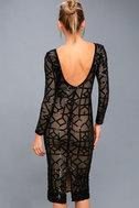 Mila Black Sequin Long Sleeve Midi Dress 4
