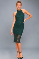 Kiss Me at Midnight Forest Green Lace Halter Bodycon Midi Dress 1