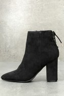 Amaia Black Suede Lace-Up Ankle Booties 1