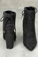 Amaia Black Suede Lace-Up Ankle Booties 4