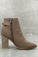 Neva Taupe Pointed Toe Ankle Booties 3