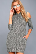 Just You and Me Heather Grey Cold-Shoulder Hoodie Dress 1