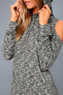 Just You and Me Heather Grey Cold-Shoulder Hoodie Dress 4
