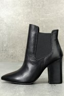 Starlight Black Leather Pointed Toe Ankle Booties 1