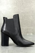 Starlight Black Leather Pointed Toe Ankle Booties 3