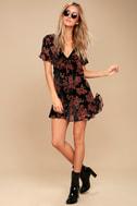 A Touch of Magic Black Velvet Floral Print Mini Dress 2