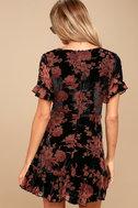 A Touch of Magic Black Velvet Floral Print Mini Dress 4