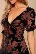 A Touch of Magic Black Velvet Floral Print Mini Dress 5