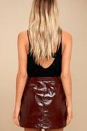 Run This Town Burgundy Patent Mini Skirt 4