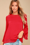 Meet Me in the City Red Long Sleeve Top 1