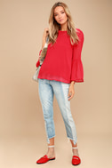 Meet Me in the City Red Long Sleeve Top 2