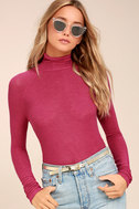 Weekend Snuggle Berry Red Mock Neck Sweater Top 4