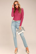 Weekend Snuggle Berry Red Mock Neck Sweater Top 3