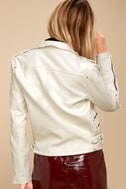 Ride Your Heart Out White Vegan Leather Moto Jacket 4