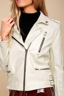Ride Your Heart Out White Vegan Leather Moto Jacket 5