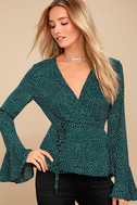 Love is Enough Forest Green Polka Dot Wrap Top 1
