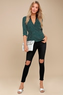 Love is Enough Forest Green Polka Dot Wrap Top 2