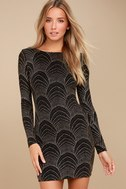 It's My Night Gold and Black Print Long Sleeve Bodycon Dress 1
