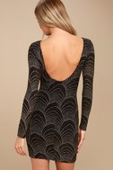 It's My Night Gold and Black Print Long Sleeve Bodycon Dress 3