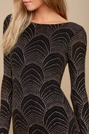 It's My Night Gold and Black Print Long Sleeve Bodycon Dress 4