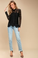 Lovely Lady Black Lace Long Sleeve Button-Up Top 2