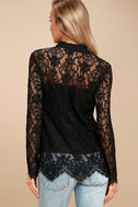 Lovely Lady Black Lace Long Sleeve Button-Up Top 3