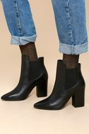 Starlight Black Leather Pointed Toe Ankle Booties 5