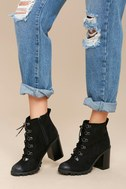 Adda Black Lace-Up Platform Booties 5