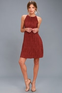 Olivia Rust Red Pleated Swing Dress 2