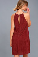 Olivia Rust Red Pleated Swing Dress 4