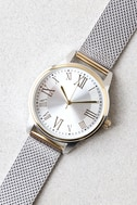 Ticking Clock Gold and Silver Mesh Watch 2