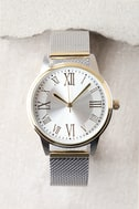 Ticking Clock Gold and Silver Mesh Watch 3