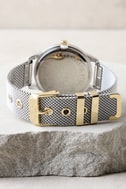 Ticking Clock Gold and Silver Mesh Watch 4