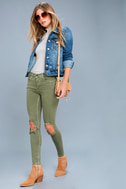 Free People High Rise Busted Olive Green Distressed Skinny Jeans 6