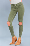 Free People High Rise Busted Olive Green Distressed Skinny Jeans 7