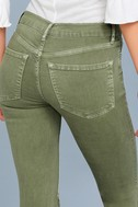 Free People High Rise Busted Olive Green Distressed Skinny Jeans 9