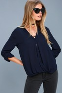 Rush Hour Navy Blue Button-Up Top 2