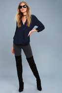Rush Hour Navy Blue Button-Up Top 1
