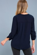 Rush Hour Navy Blue Button-Up Top 4