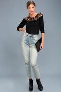 Leila Black Cutout Long Sleeve Top 2