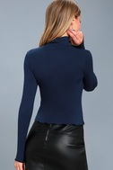 Hey There Navy Blue Long Sleeve Turtleneck Top 4