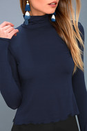 Hey There Navy Blue Long Sleeve Turtleneck Top 5