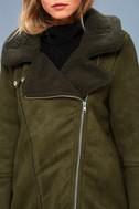 Dallas Olive Green Sherpa Coat 4