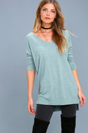 Feel the Magic Heather Mint Blue V-Neck Sweater Top 3