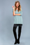 Feel the Magic Heather Mint Blue V-Neck Sweater Top 2