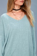 Feel the Magic Heather Mint Blue V-Neck Sweater Top 5