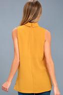 Ciao Bella Mustard Yellow Cutout Mock Neck Top 2