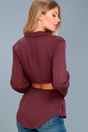 Mason Washed Burgundy Long Sleeve Cutout Knotted Button-Up Top 1