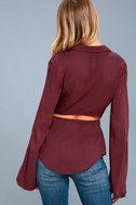 Mason Washed Burgundy Long Sleeve Cutout Knotted Button-Up Top 3